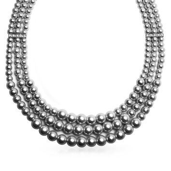 Wide Collar Necklace 3 Strand Grey Simulated Pearl Crystal 18 Inch