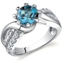 Regal Helix 1.50 carats London Blue Topaz Ring in Sterling Silver Rhodium Finish Size 5 to 9: Jewelry: Amazon.com