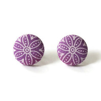Purple Flower Art Deco Style Fabric Cover Button Earrings Surgical Stainless Steel Posts