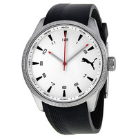 Puma Indicator White Dial Black Silicone Unisex Watch PU102601003