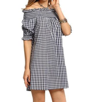 Womail Women Off Shoulder Plaid Check Bodycon Loose Slash neck Dress Bohemian Style Casual Beach Half Sleeve Mini Dress #23