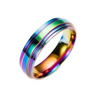 1PC Rainbow colorful titanium steel ring fashion stainless steel ring High Quality