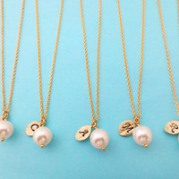 Set of 5, Italic Font, White, Pearl, Gold, Initial, Leaf, Personalized