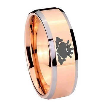 10MM Beveled Claddagh Design Rose Gold IP 2 Tone Tungsten Carbide Men's Ring