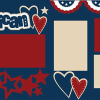 Scrapbook Page Kit or Premade Layout 12X12 2-Page -4th of July/Independence Day/All American