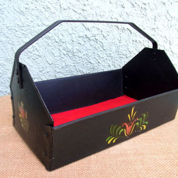 Painted Black Tin Caddy with Decal Accents and Red Felt Lining Vintage Rustic Chic Black Tin Caddy