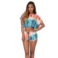 Hooded Two Piece Outfits Women Sexy Bat Sleeve Short Shirt Twinset Sets Top And Shorts