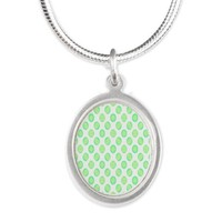 Pastel Green Circle Pattern Necklaces