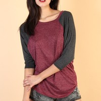 Oversized Baseball T-Shirt - Burgundy