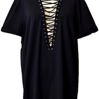 Short Sleeve Lace Up Top, Black (Size S)