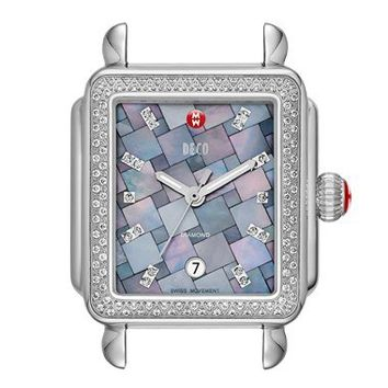 MICHELE 'Deco Diamond' Grey Mosaic Dial Watch Case, 33mm x 35mm (Limited Edition) | Nordstrom