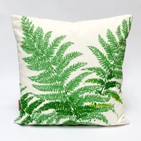 Fern Throw pillow 16x16, linen vintage fabric, designer pillow, botanical pillow, cushion cover, green pillow, couch pillow, scatter pillow