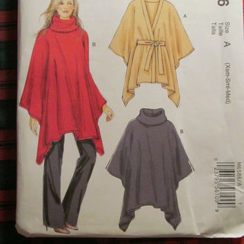 SALE Uncut McCall's Sewing Pattern 6586! Pullover Cape Sweater/poncho/Over sized Ponchos/Women's/Misses/Tie Robe/XS to Medium/Hippie Casual