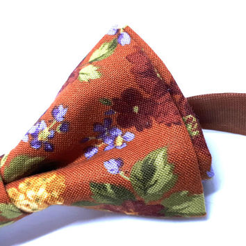 Light Brown Bow Tie - floral bow tie - wedding bow tie - auburn bow tie with yellow, blue and green flowers - grooms bow tie