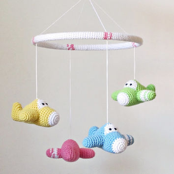 Crochet baby mobile airplanes - organic cotton - custom mobile - nursery decor