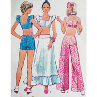 Simplicity 5697 Sewing Pattern Retro 70s Midriff Crop Top Palazzo Wide Leg Pants Maxi Skirt Bust 36