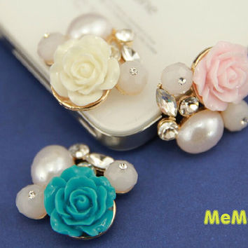 1 Piece Luxury Bling Crystal Alloy 3D Pearl Flower Kawaii Accessories Charm Cabochon Deco Den on Craft Phone Case DIY Deco kit AA1247