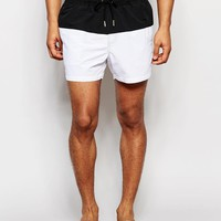 ASOS | ASOS Short Length Swim Shorts With Monochrome Panel at ASOS