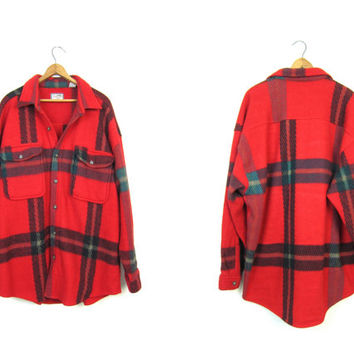 Red 90s Fleece Shirt Oversized Long Shirt Jacket Plaid Flannel Blanket Coat Button Up Sweatshirt Coat Slouchy Sweater Hunting Shirt Mens XL