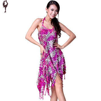 New V Neck Strap Latin Dance Dress Ladies Sequins Tassel Rumba Square Dance Costume Wear 5 Colors