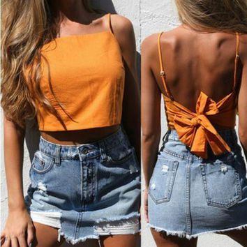 2017 new women Summer crop tops fashion lace up camisole tank top tees backless sleeveless beach bow cami ladies short Halter tops