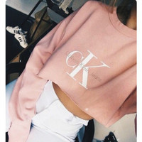 """ CK Calvin Klein "" Printed Trending Fashion Women Long Sleeve Crop Top Shirt  _ 10483"