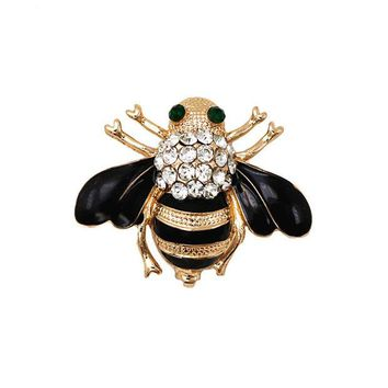 VONC1Y Fashion Jewelry Enameled Black Bee Brooch Pin Gold And Silver Colors Animal Pin Women's Jewelry Brooches