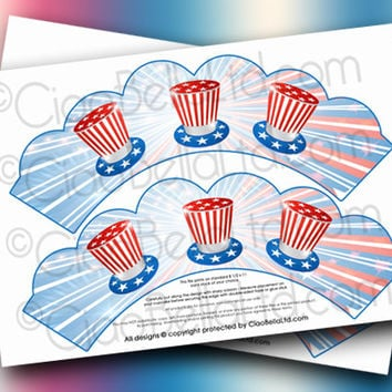 Printable Stars And Stripes Patriotic Cupcake Wrappers - INSTANT DIGITAL DOWNLOAD