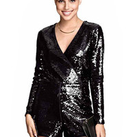 Romper with Sequin Detail in Black