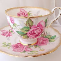 Royal Stafford Berkeley Rose Teacup & Saucer Set - English Fine Bone China Vintage - roses antique briar magenta pinks wild afternoon tea