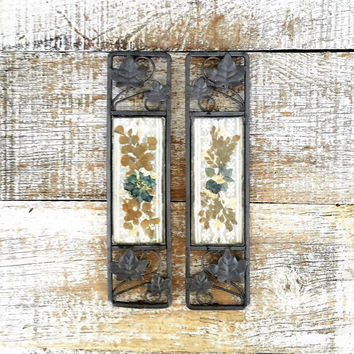 Framed Pressed Flower Art Pair of Dried Flower Suncatchers Pewter Framed Dried Flowers and Lace Folk Art Wall Hangings Farmhouse Chic Decor