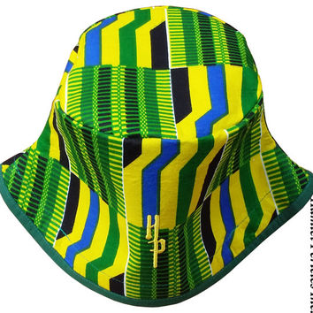 African Kente Unisex Bucket Hat | Kente Hat | African Hat | Kente Cloth | Green and Yellow Hat | Stripe Hat | Africanwear by Hamlet Pericles