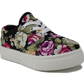 Girls Cay-04K Floral Print Canvas Low Rise Sneaker Shoes