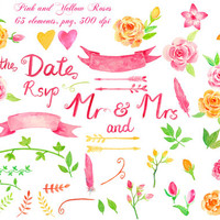 Wedding Clipart - Watercolor Pink and Yellow Roses collection printable instant download (set14)