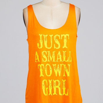Just a Small Town Girl Tank - Orange
