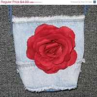 Red Rose Repurposed Denim Small Lined Jean Purse/Bag