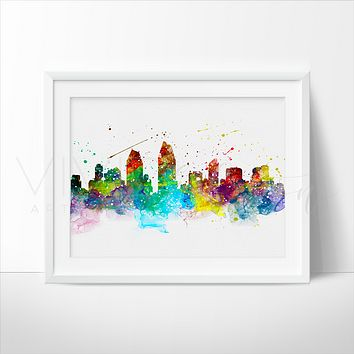 San Diego Skyline Watercolor Art Print