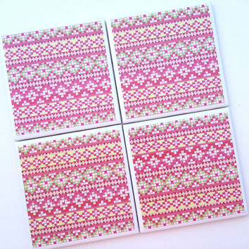 Pink Mexican Tiled Design Coasters, Drink Coasters, Native Art, Southwest Decor, Colorful Tribal, Aztec Design