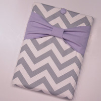 "Macbook Air 11 Sleeve MAC Macbook 11"" inch Laptop Computer Case Cover Grey & White Chevron with Lavender Bow"