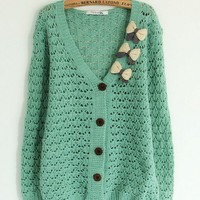New Style Autumn Winter Cute Loose Butterfly V Neckline Bat-Wing Sleeve Women Knitting Green Sweater One Size @AY1166gr $13.99 only in eFexcity.com.