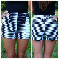 New Port Black & White Striped Sailor Shorts