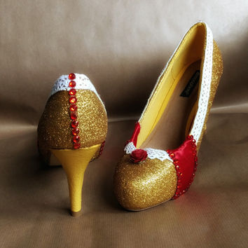 Gold Glitter Disney Beauty and the Beast Belle Inspired Shoes