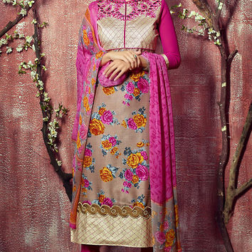Beige and Magenta Floral Zari Embroidered Straight Cut Suit