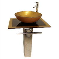 24-inch Modern Bathroom Vanity Set with Glass Vessel Sink
