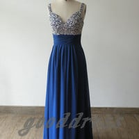 Free shipping New Arrival Blue Straps Crystal Sequin Chiffon Sleeveless Formal Evening/Prom/Party/Brides­maid/Homecoming Dress