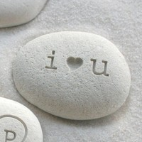 i heart u beach pebble  I love you gift stone  by sjengraving