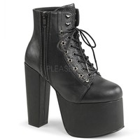 Black Lace Up Platform Pump Ankle Booties Vegan Faux Leather