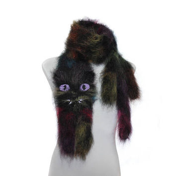 Knitted Scarf / Galactic Fantastic Cat Fuzzy Soft Scarf / multicolor scarf / knited cat scarf / animal scarf rainbow cat Crystal embroidery