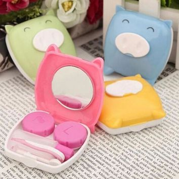 1PCS New cartoon piggy shape Glasses Contact Lenses Box Contact lens Case for Eyes Care Kit Holder Container Gift