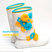 "Patriotic shoes ""Ukraine"" Low heel shoes Crochet shoes Yellow Blue"